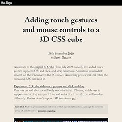 Adding touch gestures and mouse controls to a 3D CSS cube
