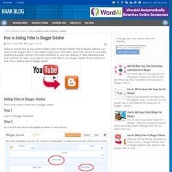 How to Adding Video to Blogger Sidebar