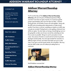 Addison Warrant Roundup Attorney, Warrant Roundup Attorney TX