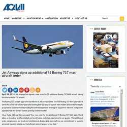 Jet Airways signs up additional 75 Boeing 737 max aircraft order