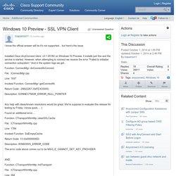 Windows 10 Preview - SSL VPN Client