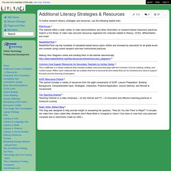 LiteracyAcrossDisciplines - Additional Literacy Strategies & Resources