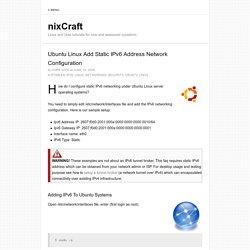 Ubuntu Linux Add Static IPv6 Address Network Configuration
