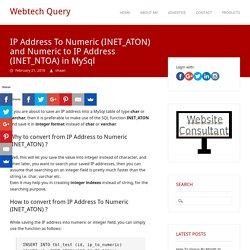 IP Address To Numeric, Numeric to IP Address, INET_ATON, INET_NTOA