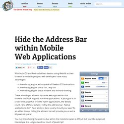 Hide the Address Bar within Mobile Safari