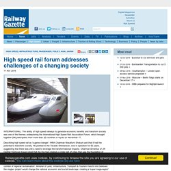 High speed rail forum addresses challenges of a changing society