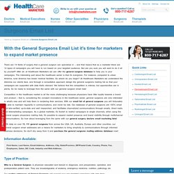 General Surgeons Email List, Mailing Addresses and Database from Healthcare Marketers