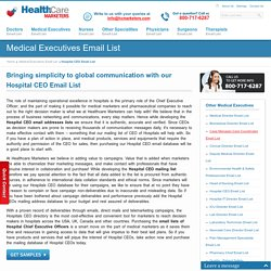 Hospital CEO Email List, Mailing Addresses and Database from Healthcare Marketers