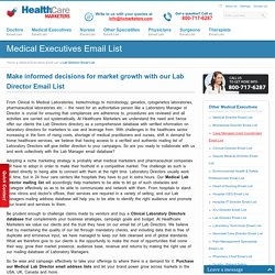 Lab Director Email List, Mailing Addresses and Database from Healthcare Marketers