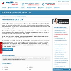 Pharmacy Chief Email List, Mailing Addresses and Database from Healthcare Marketers