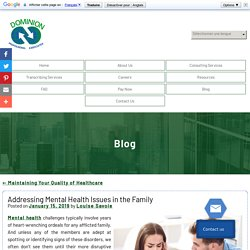 Addressing Mental Health Issues in the Family