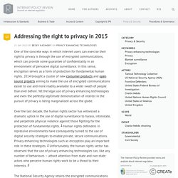 Addressing the right to privacy in 2015