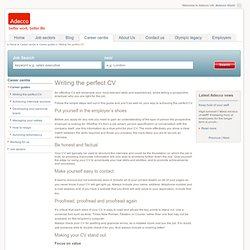 Adecco - How To Write The Perfect CV