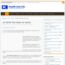 An ADHD Test Made For Adults