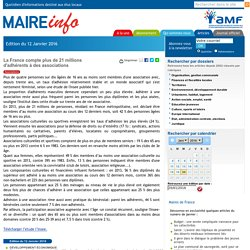 La France compte plus de 21 millions d'adhérents à des associations- Maire-info / AMF