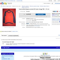 Sweat Adidas Replica Années 80'S Style Vintage TBE 174 M