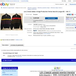 LOT 2 Sweat Adidas Vintage Production Ventex Manche Longue BE 168 S