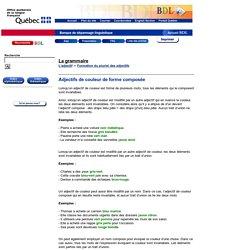 Adjectifs de couleur de forme composée