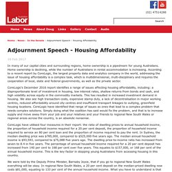 Adjournment Speech - Housing Affordability
