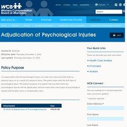 Adjudication of Psychological Injuries