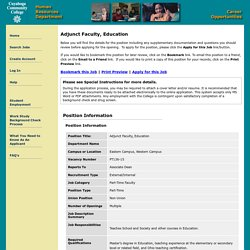 Adjunct Faculty, Education