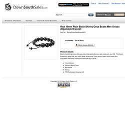 Down South Sales LLC Real 10mm Plain Black Shinny Onyx Beads Men Unisex Adjustable Bracelet