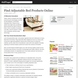 Find Adjustable Bed Products Online