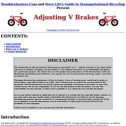 Adjusting V Brakes