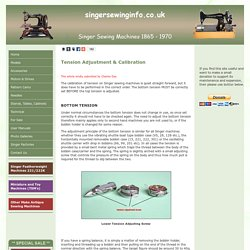 Singer Sewing Machines Tension Adjustment & Calibration
