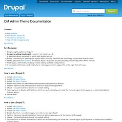 OM Admin Theme Documentation