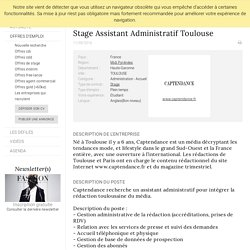 Stage Assistant Administratif Toulouse, CAPTENDANCE, TOULOUSE - FashionJobs.com France (#1776713)
