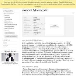 Assistant Administratif, B-E LAB, PARIS - FashionJobs.com France (#1776002)