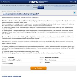 Assistant administratif marketing bilingue H/F - Hays - Recruiting Experts Worldwide