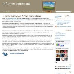 2007 : E-administration ? Peut mieux faire !