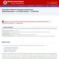 Executive Master Program In Business Administration 1 year 4 Certifications