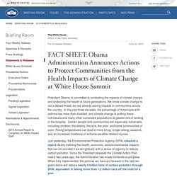 Obama Administration Announces Actions to Protect Communities from the Health Impacts of Climate Change at White House Summit