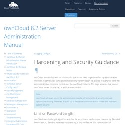 Hardening and Security Guidance — ownCloud 8.2 Server Administration Manual 8.2 documentation