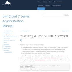 Resetting a Lost Admin Password — ownCloud 7 Server Administration Manual 7.0 documentation