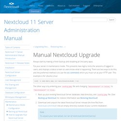 Manual Nextcloud Upgrade — Nextcloud 11 Server Administration Manual 11 alpha documentation