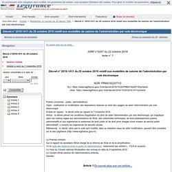 [Texte juridique] - Décret n° 2016-1411 du 20 octobre 2016 relatif aux modalités de saisine de l'administration par voie électronique