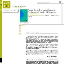 Raphaël Romi, « Droit et administration de l'environnement », octobre 2001