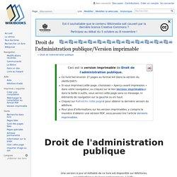 Droit de l'administration publique/Version imprimable