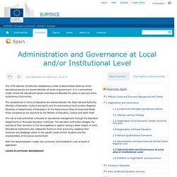 Spain:Administration and Governance at Local and/or Institutional Level