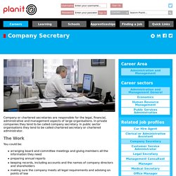 Planit : Job Profiles : Company Secretary Administration and Management General