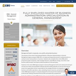 Online MBA: Specialization in General Management CBU Online
