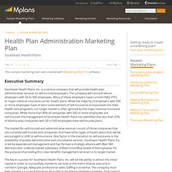 Health Plan Administration Sample Marketing Plan - Executive Summary