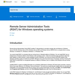Remote Server Administration Tools (RSAT) for Windows operating systems
