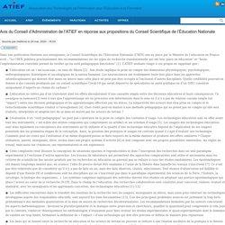 Avis du Conseil d'Administration de l'ATIEF en réponse aux propositions du Conseil Scientifique de l'Éducation Nationale