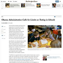 Obama Administration Calls for Limits on Testing in Schools