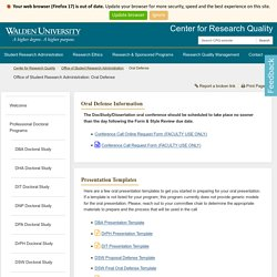 Oral Defense - Office of Student Research Administration - Academic Guides at Walden University